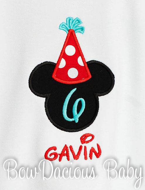 Mickey Mouse Birthday Boy Hat Shirt Disney Personalized Custom Colors, Any Age, Number Inside Head