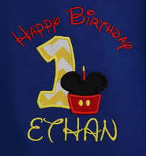 Mickey Mouse Cupcake Birthday Boy Shirt with Number, Shirt or Bodysuit, Custom, Blue Shirt