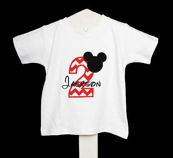 Boys Mickey Mouse Red Number Birthday Shirt Or Onesie More Color Options, Custom