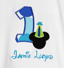 First Birthday Personalized Mickey Mouse with Party Hat Birthday Shirt, Any Age, Shirt or Onesie