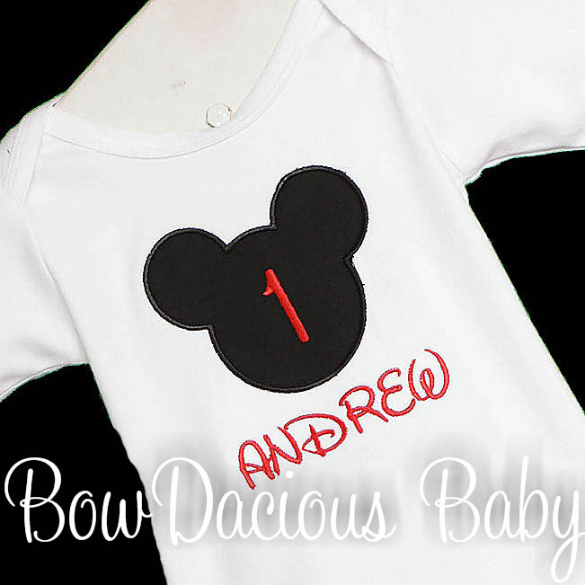 Personalized Mickey Head Birthday Shirt or Onesie, Custom