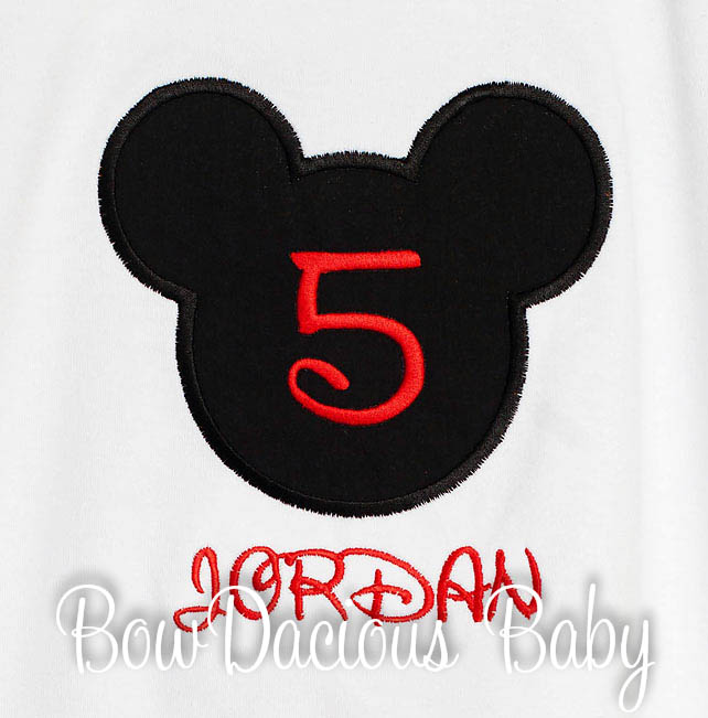 5th BIRTHDAY Mickey Head Boy Shirt Disney Font Applique Personalized
