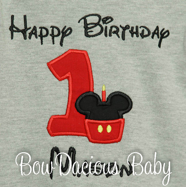 Mickey Minnie Mouse Birthday Shirt Custom, Embroidered, Applique, Cupcake Monogram, Monogrammed, 1st first 2nd 1 2 3 ideas