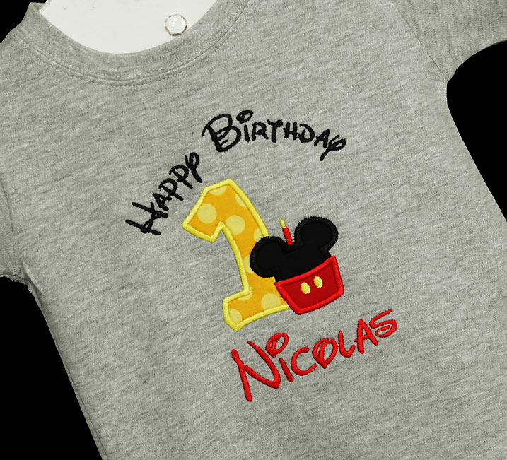 Mickey Mouse Birthday Shirt or Onesie, Red, Black, Yellow Cupcake Candle, Custom