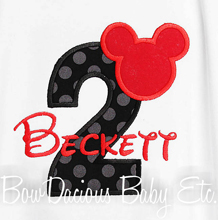 Personalized, Mickey Mouse Bodysuit, Mickey Head, Disney, 1st Birthday Outfit