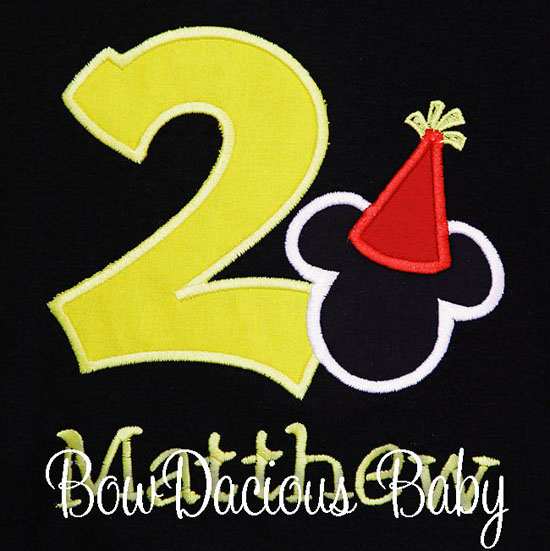 Personalized Mickey Mouse with Party Hat Second Birthday Shirt or Onesie