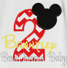 Red and Black Mickey Mouse Birthday Outfit, 2nd birthday Shirt, Custom Birthday Shirt