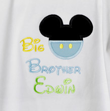 Big brother, Little brother Mickey Mouse Pants Buttons Ears Applique T Shirt, Disney Mickey Shirt Boys, Infant, Toddler