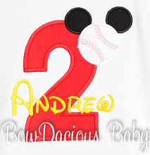 Baseball Mickey Birthday Shirt or Onesie