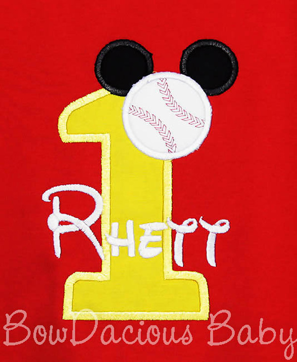 Baseball Mickey Mouse Birthday Shirt or Onesie, Custom