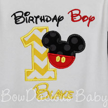 Birthday Boy Mickey Mouse Birthday Shirt or Onesie, Custom