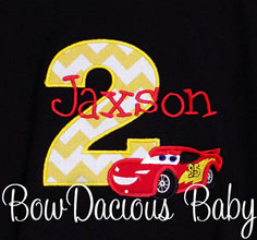 Black Cars Birthday Shirt or Onesie, You Pick Fabrics, Any Age
