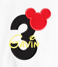 Mickey Mouse Ears Birthday Shirt Disney Font Applique Personalized