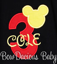 Personalized Mickey Mouse Birthday Shirt with Red Number and Yellow Name