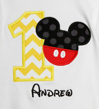 Custom Mickey Mouse Birthday Shirt or Onesie, Any Age, You Pick Fabrics