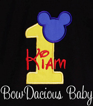 Infant/Toddler Boys 1st First Birthday Mickey Mouse Personalized 1 Shirt BLACK with Red name