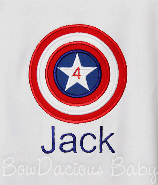 Captain America Birthday Shirt or Onesie, Custom, Any Age