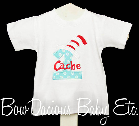 Aqua and Red Cat in the Hat Birthday Shirt or Onesie, Custom Fabric, Any Age
