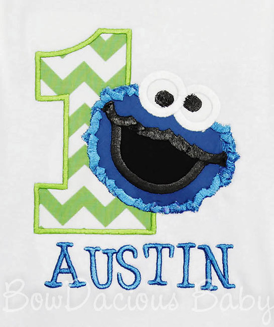 Cookie Monster 1st Birthday Shirt or Onesies, Custom, Any Age