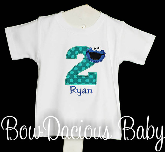 Boys Cookie Monster Birthday Shirt, Custom, Any Age