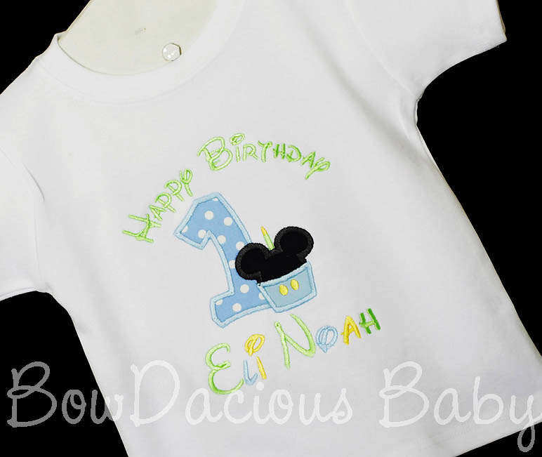 Baby Mickey Minnie Mouse birthday Shirt or Onesie, Custom Embroidered Applique, Cupcake, Monogram, Monogrammed, 1, 2, 3