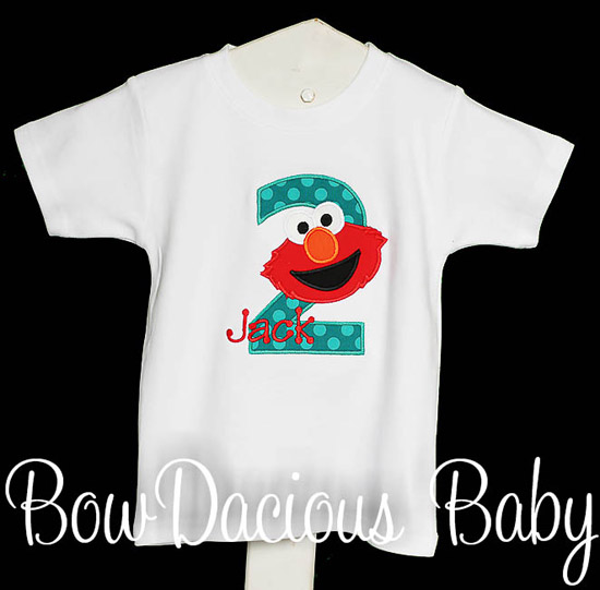 Personalized Elmo Polka Dot Birthday Number Shirt or Onesie