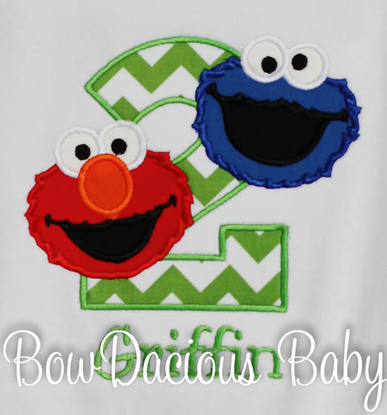 Sesame Street Elmo and Cookie Monster Birthday Shirt or Onesie, Custom
