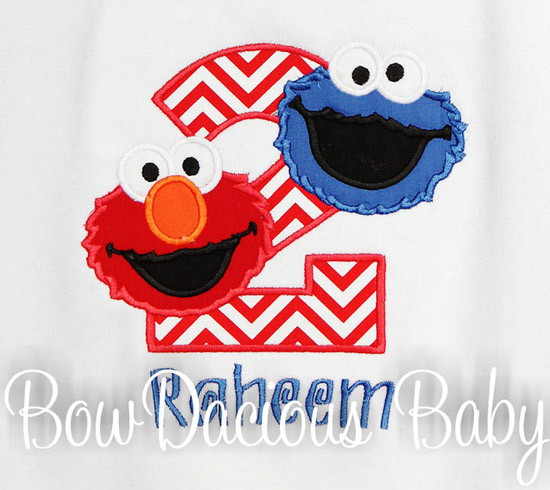 Elmo and Cookie Monster Birthday Shirt or Onesie, Any Age, Custom
