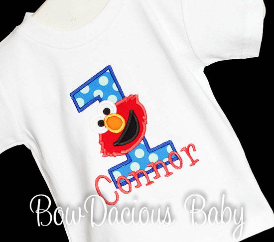 Appliqued Elmo Birthday Polkadot Number Shirt or Onesie Boys, Custom