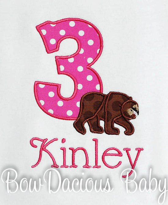 Brown Bear Birthday Shirt, Boy or Girl, Your Choice of Number and Fabrics