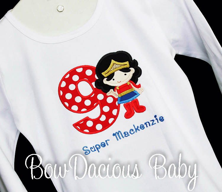Supergirl Birthday Shirt or One Piece Bodysuit, Wonder Woman Birthday Shirt, Superhero Birthday Shirt