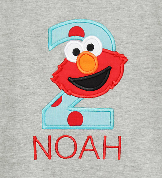 Gray Elmo Birthday Shirt
