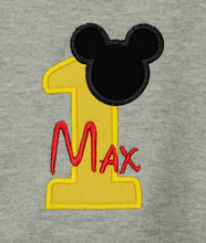 Personalized Mickey Mouse Birthday Shirt, 1st, 2nd, 3rd- Applique, Customized, Embroidered, Name, Disney