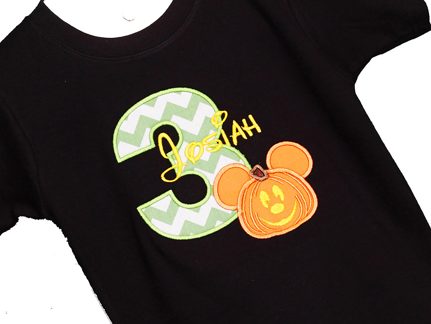 Personalized Mickey Mouse Halloween Pumpkin Birthday Shirt, Custom Colors, Any Age, Boys or Girls