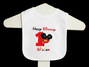 Happy Birthday Mickey Bib, Custom