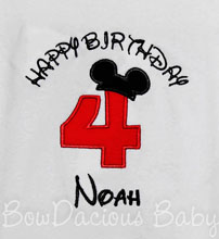 Happy Birthday Mickey Mouse Birthday Shirt or Onesie, Mickey Mouse Birthday Shirt or Onesie, Custom, Any Age