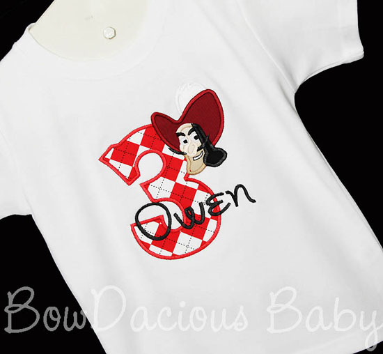 Boys Hook Jake And The Neverland Pirates Birthday Shirt Shirt or Onesie