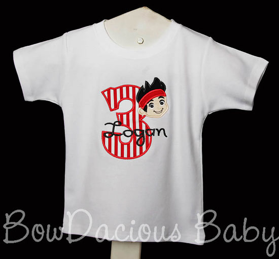 Boys Birthday Number Jake And The Neverland Pirates Onesie or Shirt, Any Age
