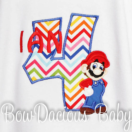 Mario Brothers Birthday Number Shirt or Onesie, Custom