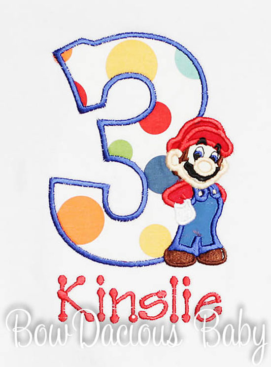 Mario Brothers Birthday Number Shirt or Onesie, Custom, Any Age