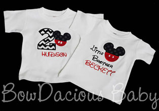 Mickey Mouse Birthday Shirt and Sibling Shirt, Custom, You Pick Fabrics and Font