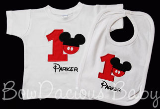 Custom Mickey Mouse Birthday Shirt and Bib, Any Color Scheme
