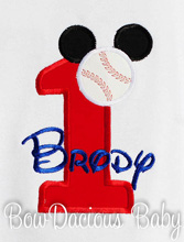 Baseball Mickey Mouse Birthday Shirt or Onesie