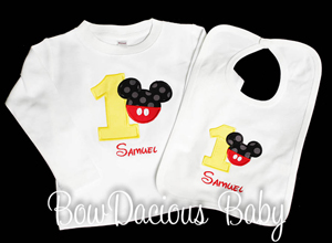 Mickey Birthday Shirt and Bib, Custom, You pick the fabrics and font