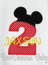 Mickey Mouse Birthday Shirt or Onesie, Custom, Any Age, You Pick the Fabrics and Font