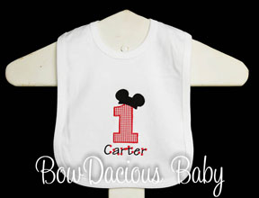 Mickey 1st Birthday Bib, Custom, Any Color Scheme