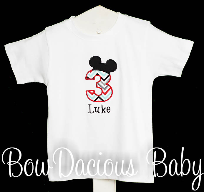 Boys Mickey Birthday T-Shirt or Onesie, Completely Custom, Free Personalization