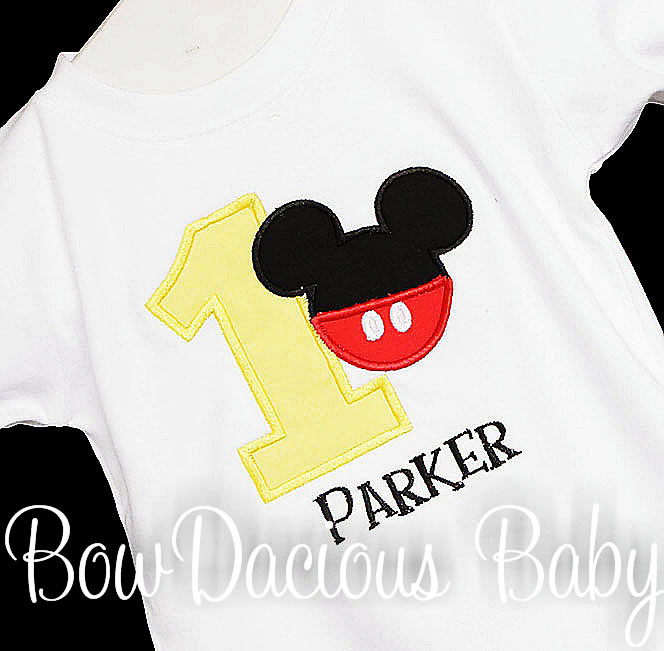 Mickey Mouse Birthday First Birthday, ONE, TWO, THREE, FOUR Applique T Shirt, Disney Mickey Pants Buttons Shirt, Infant, Toddler White Short Sleeve