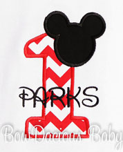 Infant/Toddler Boys 1st First Birthday Mickey Mouse White Shirt, Red 1, Black Name Personalized 1 Shirt