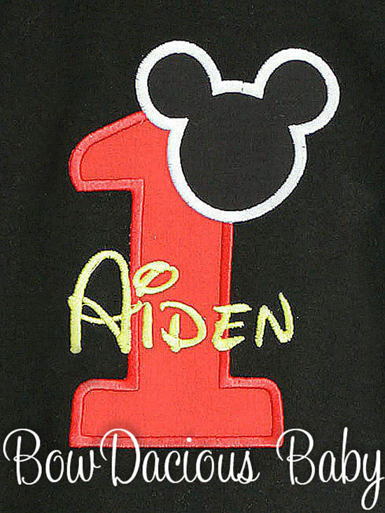 Black Mickey Mouse 1st Birthday Onesie, Any Age, Any Color Scheme